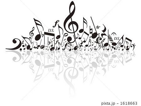 音楽 音符 白黒 楽譜の写真素材 Pixta