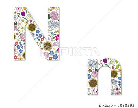 アルファベット N 小文字 花のイラスト素材 Pixta