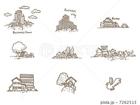 街、家やビルの線画