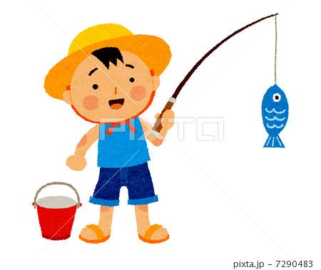 男の子 魚釣り 麦わら帽子 川の写真素材 Pixta