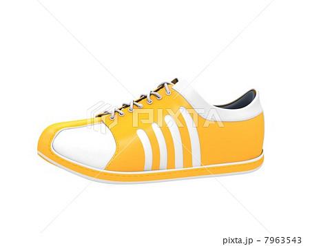 スニーカー 靴 白バック 黄色のイラスト素材 , PIXTA