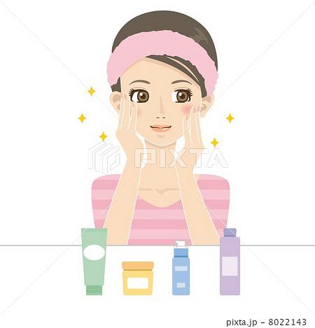 化粧水でパッティングをする女性のイラスト素材 8022143 Pixta
