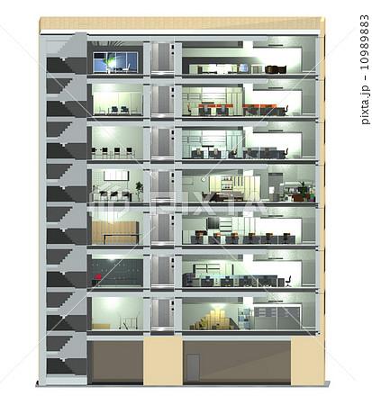 オフィスビル(断面2)平行投影