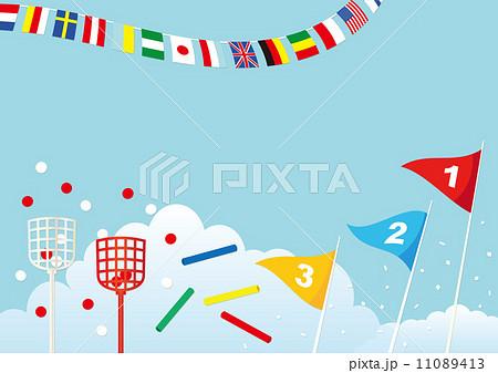 旗 運動会 爽やか 背景素材のイラスト素材 Pixta