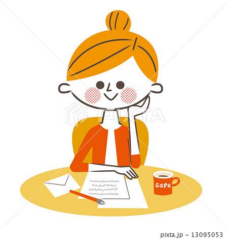 手紙を書く女性のイラスト素材 13095053 Pixta