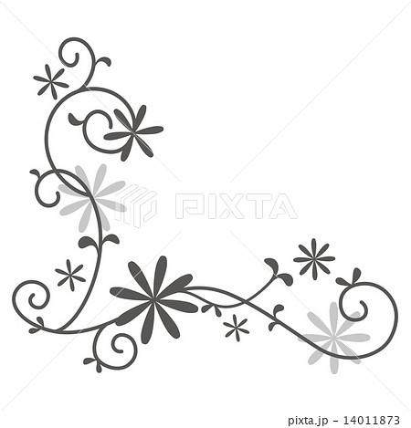 花 飾り罫 ベクター 白黒のイラスト素材 Pixta