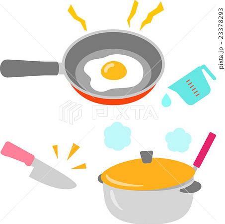 キッチン フライパン かわいい 料理のイラスト素材 Pixta