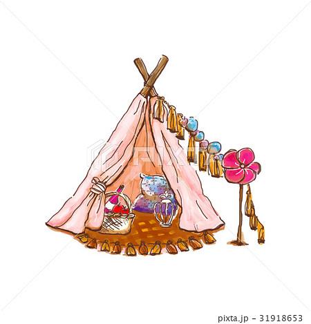 ベクター テント グランピング 女子会のイラスト素材 Pixta