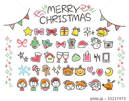 クリスマス セット アイコン 手描きのイラスト素材