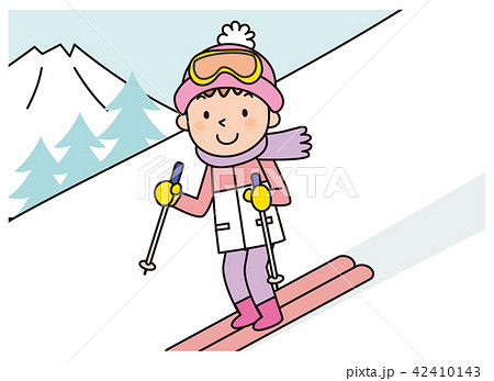 人物 子供 スキー イラストのイラスト素材 Pixta