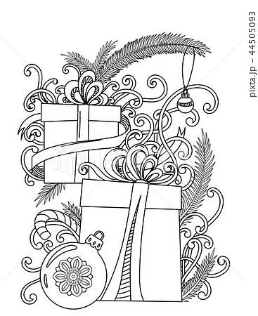 塗り絵 クリスマス モノクロ 白黒の写真素材 Pixta