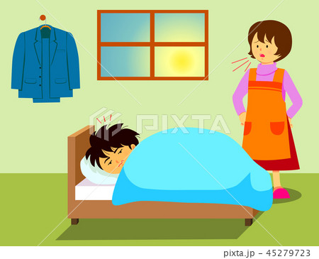 起床 人物 女性 朝起きるのイラスト素材 Pixta